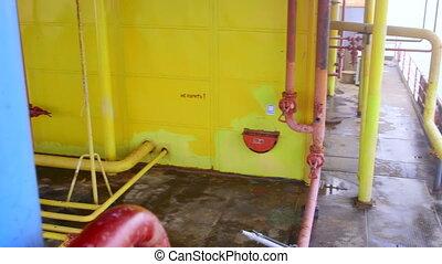 costa, gas, e, piattaforma produzione olio, apparecchiatura