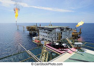 costa, gas, piattaforma