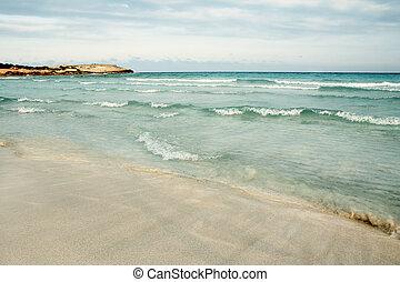 costa, mar, fundo