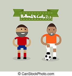 costa, netherlands, フットボール選手, プレーヤー, ∥対∥, vector., rica, サッカー