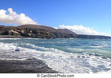 costa ocidental, de, fuerteventura, ilhas canário, em, la, pared
