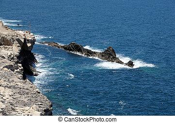 costa ocidental, de, fuerteventura, perto, ajuy., ilhas canário, espanha