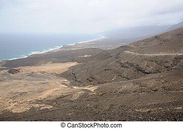 costa ocidental, de, ilha canário, fuerteventura, espanha