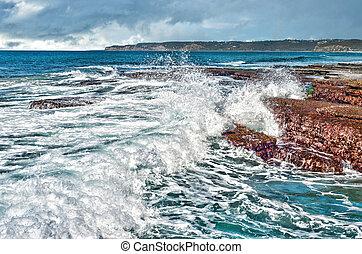 costa, ondas, pedras