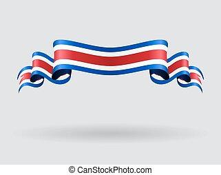 costa, ondulato, illustration., flag., vettore, rican