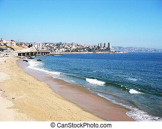 costa pacífica, cerca, vina, mar. de supr, chile