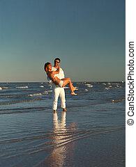 costa, par, feliz, jovem, mar