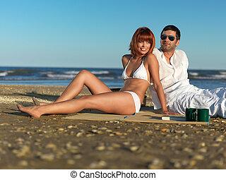 costa, par, mar, jovem, relaxante