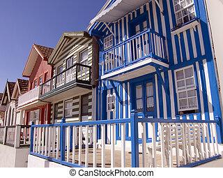 costa, portugal, casa, -, nova, pescador, típico