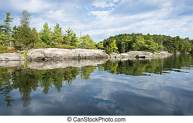 Costa, reflexión, norteño, lago