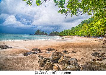 Costa Rica beach in a storm