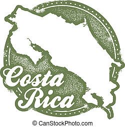 Costa Rica Central America Stamp - A distressed vintage...