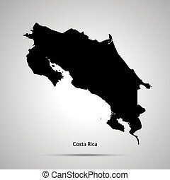 Costa Rica country map, simple black silhouette on gray