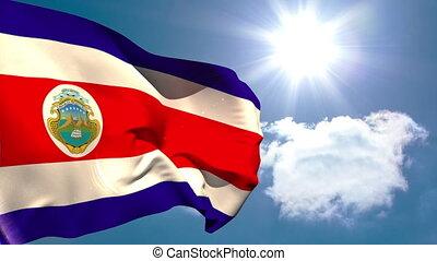 costa rica, falować, narodowa bandera