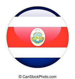 Costa rica flag button on white