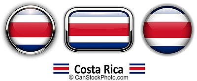 Costa Rica flag buttons, 3d shiny vector icons.