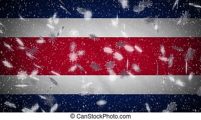 Costa Rica flag falling snow loopable, New Year and Christmas background, loop