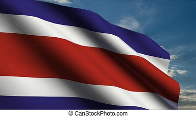 Costa Rica Flag waving in wind with clouds in background