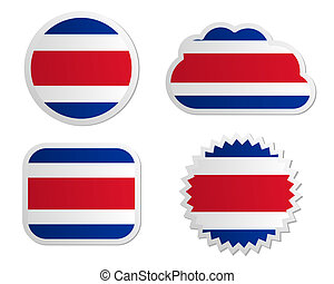 Costa Rica flag labels