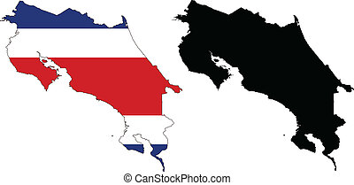 costa rica - vector map and flag of Costa Rica with white...
