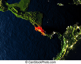 Costa Rica in red from space at night