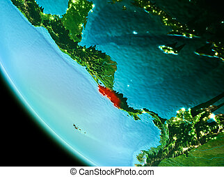 Costa Rica in red in the evening