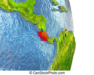 Costa Rica in red on Earth