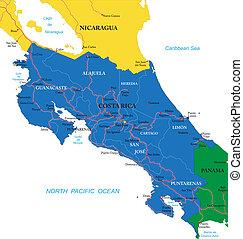costa rica, landkarte