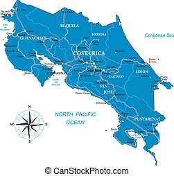 Costa Rica map - Highly detailed vector map of Costa Rica...