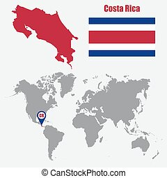 Costa rica blue low poly map with capital san jose costa eps costa rica map on a world map with flag and map pointer vector illustration gumiabroncs Gallery
