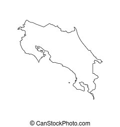 Costa Rica map silhouette on the white background. Vector...
