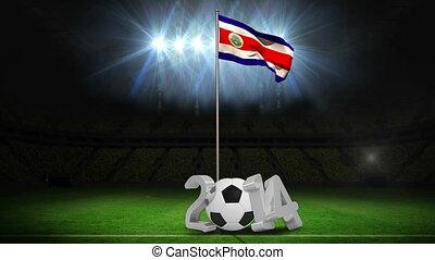 Costa Rica national flag waving on flagpole on football...