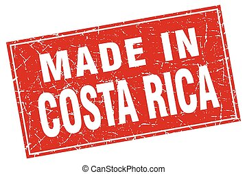 Costa Rica red square grunge made in stamp
