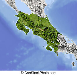 Costa Rica, shaded relief map - Costa Rica. Shaded relief...