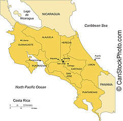 Costa Rica with Administrative Districts and Surrounding...