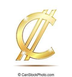 Costa Rican and Salvadoran colon symbol, golden money sign,...