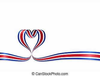 Costa Rican flag heart-shaped ribbon. Vector illustration. -...