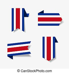 Costa Rican flag stickers and labels. Vector illustration. -...