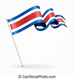 Costa Rican pin wavy flag. Vector illustration. - Costa...