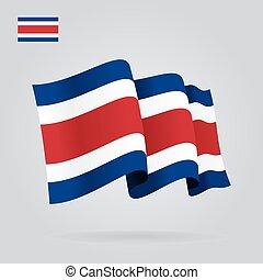 Costa Rican waving Flag. Vector illustration. - Costa Rican...