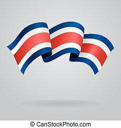 Costa Rican waving Flag. Vector illustration Eps 8.