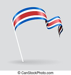 Costa Rican wavy flag. Vector illustration. - Costa Rican...