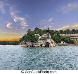 costa, rocha, nacional, imaginado, lago