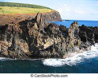 costa rocosa, de, isla de pascua