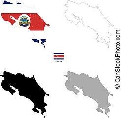 costa, silhouette, paese, bandiera, sfondo nero, rica