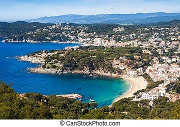 costa, (small, antenna, brava, tengerpart, egy, falu, tamariu), kilátás, world., legjobb, célállomás