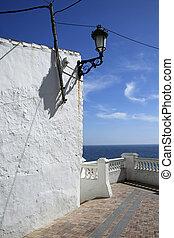 costa, sol, (mirador), waarneming, nerja, dek, andalusia, del, spanje