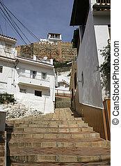 costa, sol, velez-malaga, andalusia, straat, del, smalle , spanje, typisch