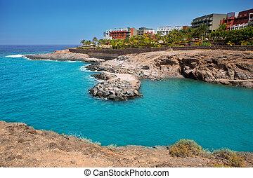 costa, tenerife, paraiso, adeje, playa, 海滩