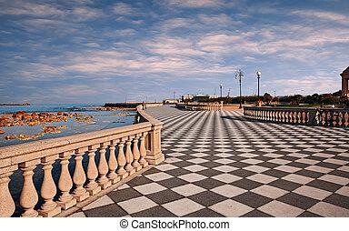 costa, terraza, mar, pintoresco, paseo, paisaje, negro, a ...